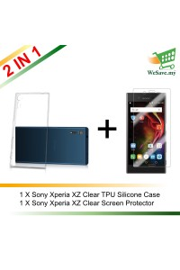 (2 in 1) Sony Xperia XZ Clear Transparent Crystal TPU Silicone Case Cover + Clear Screen Protector (Original)