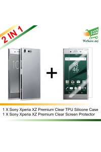 (2 in 1) Sony Xperia XZ Premium Clear Transparent Crystal TPU Silicone Case Cover + Clear Screen Protector (Original)