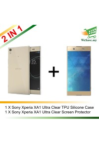 (2 in 1) Sony Xperia XA1 Ultra Clear Transparent Crystal TPU Silicone Case Cover + Clear Screen Protector (Original)
